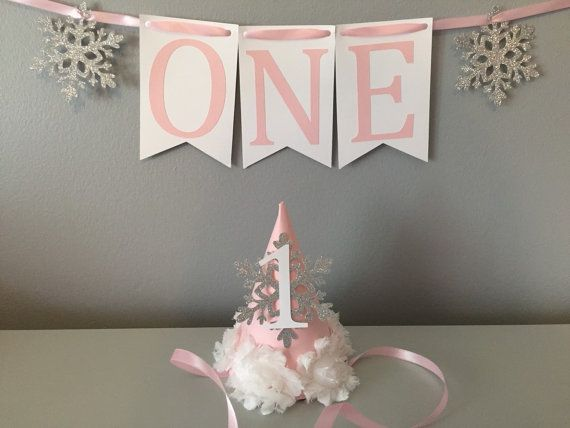 fe17b0da7ed First Birthday Hat. Rose Gold Birthday Hat. Smash Cake Hat. Winter  Onederland Mini