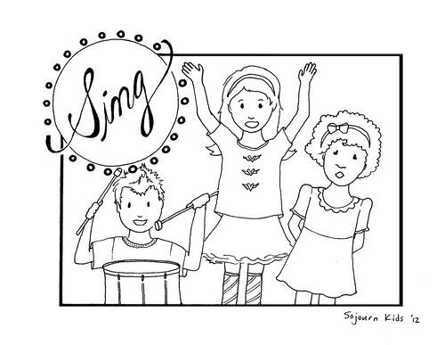 Sing Coloring Page For Kids With Images Sunday School Coloring