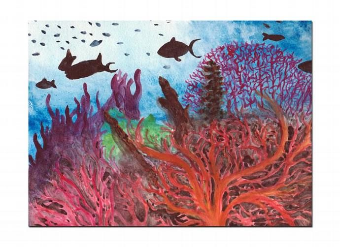 Under The Sea Watercolor Painting , Coral Reef Painting ...