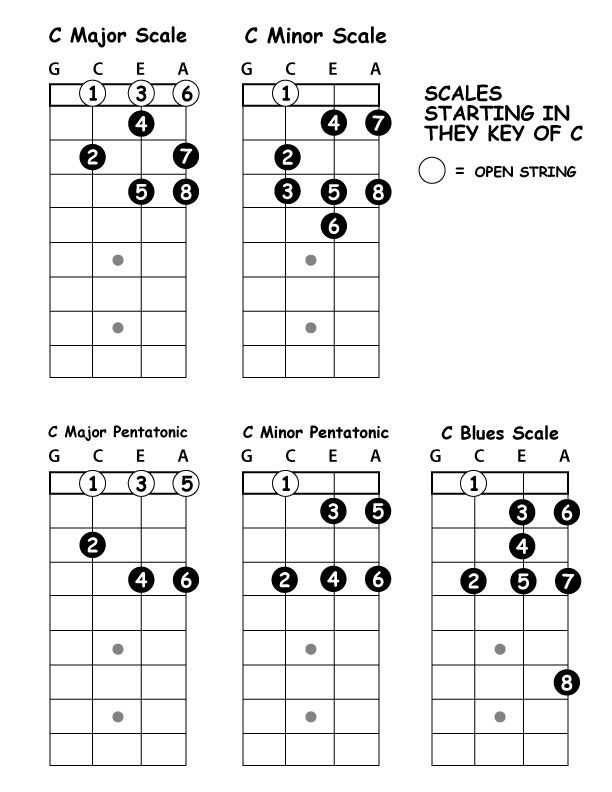 5 Basic Scale Patterns Starting On The C String Ukulele Play