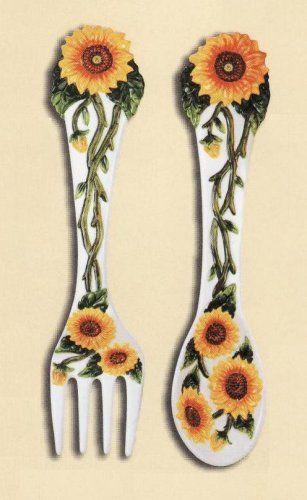 Sunflower 2 Pc Large 17 Spoon Fork Wall Decor Set New K Merchandise Inc Http Www Amaz Kitchen