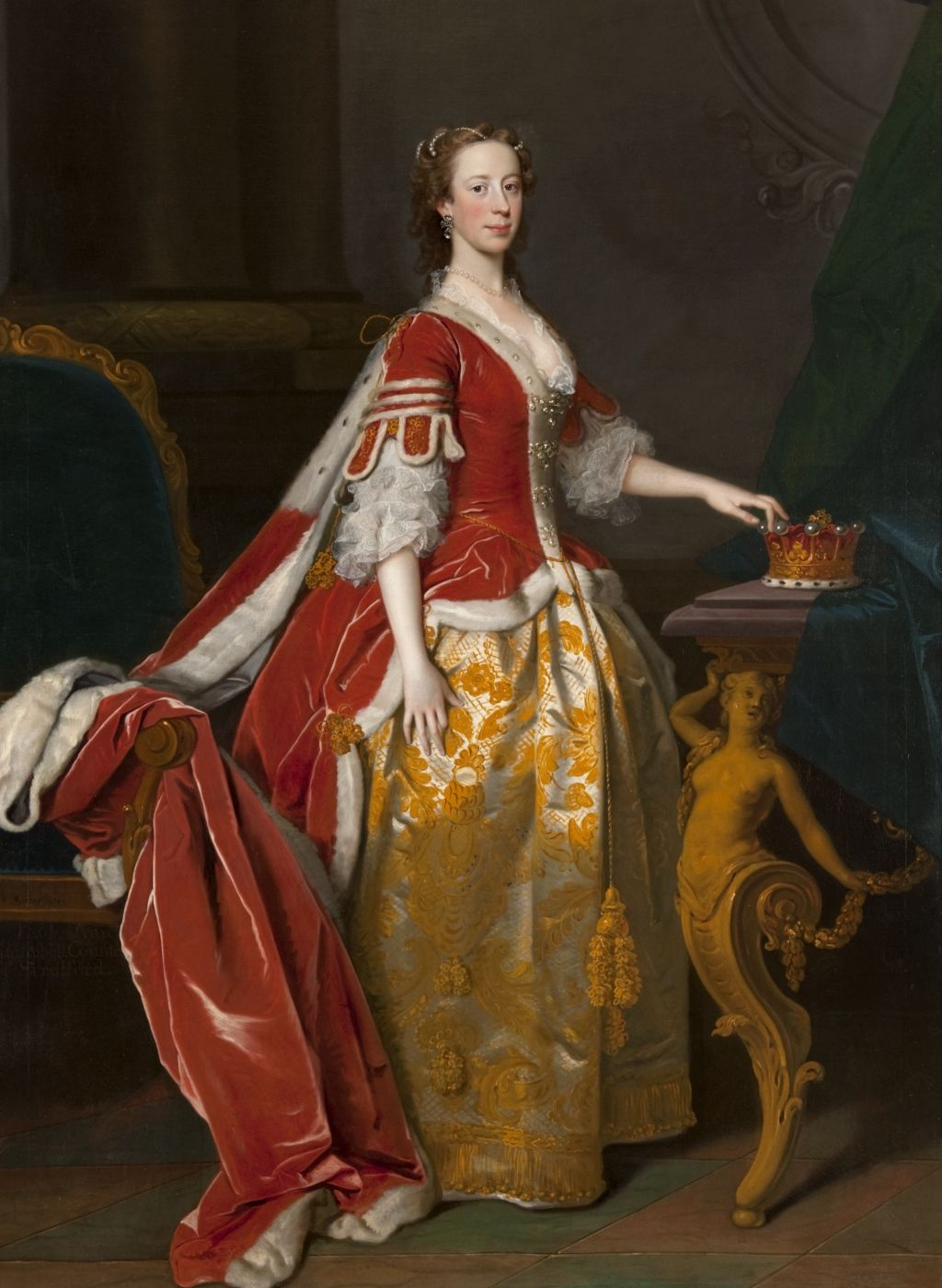 """Lady Anne Campbell, Countess of Strafford (c.1720-1785)"" 1743    Hunterian Art Gallery collections, catalogue number GLAHA 44023. Another example of court dress, although 50 years later. Also a countess, not a duchess."