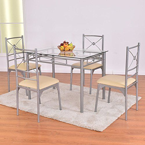 5 Piece Dining Set Tempered Glass Table And 4 Chairs Kitchen Chair