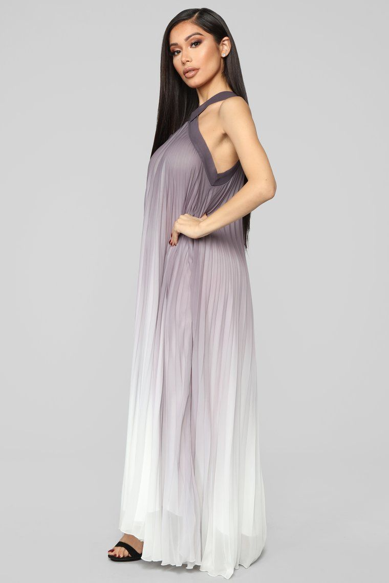 Sunset Palms Ombre Dress Grey/White Ombre dress, Gray