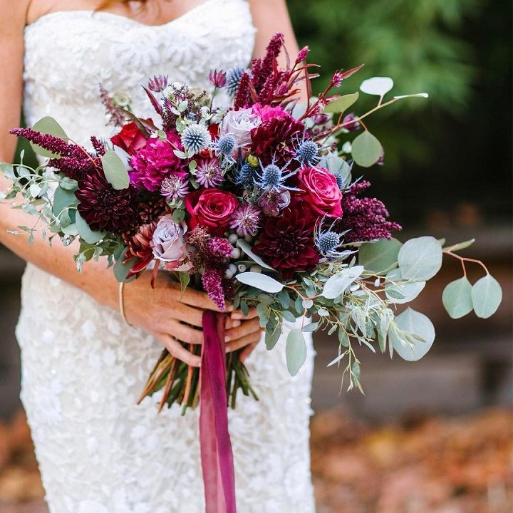 Beautiful rich jewel toned bouquet | fabmood.com #jewelones #weddingbouquet #bouquet #fallbouquet