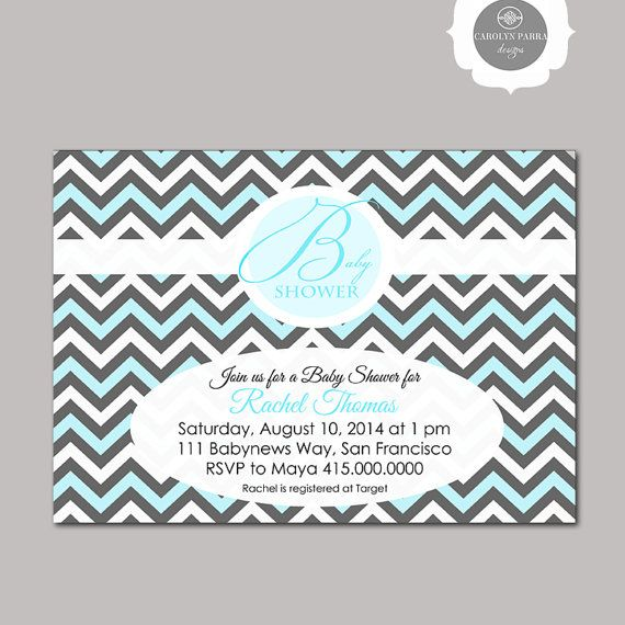 DIY Chevron Baby Shower Invitation in Blue