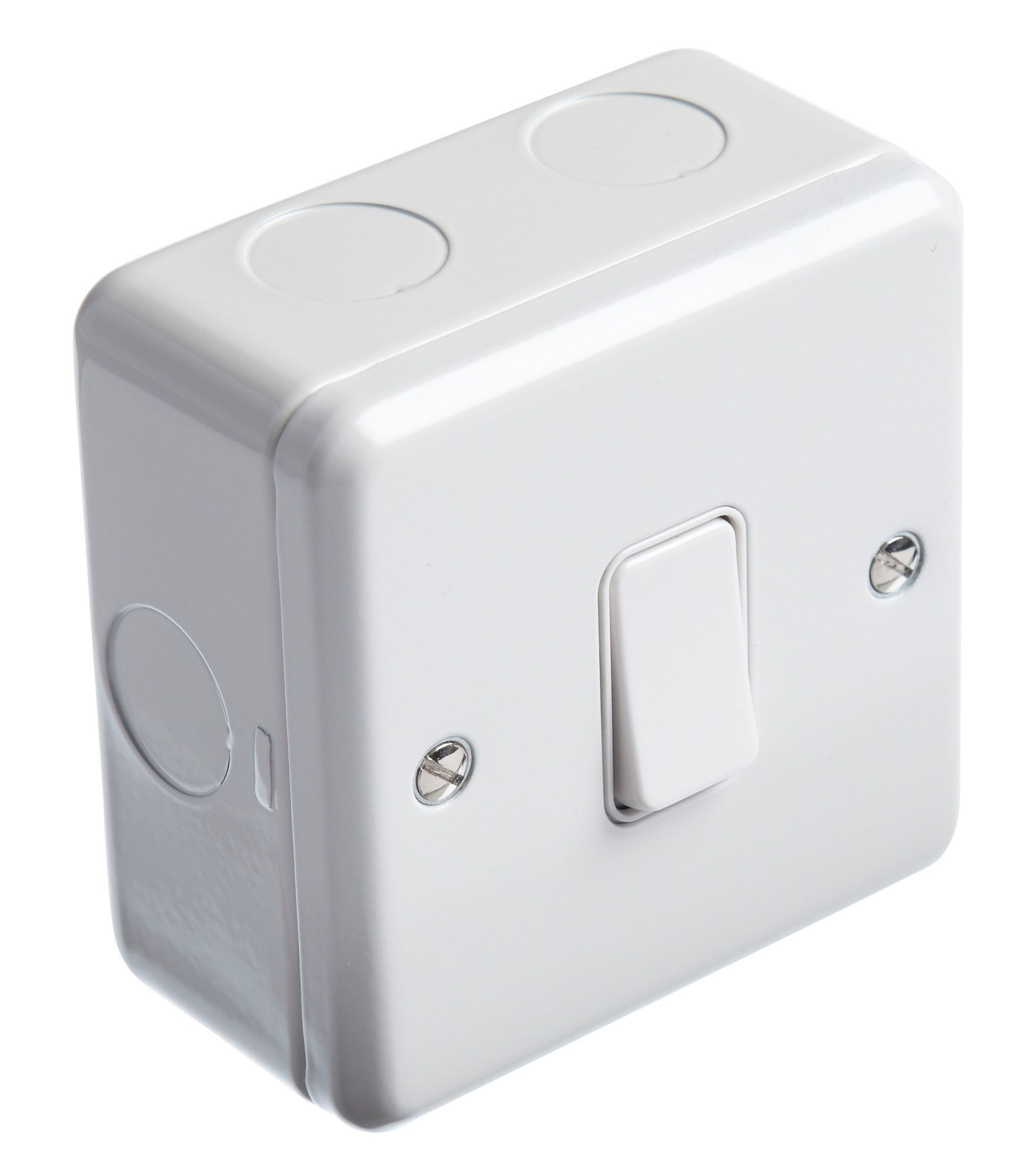 MK 1-Gang 2-Way 13A White Single Light Switch with Box | Departments ...