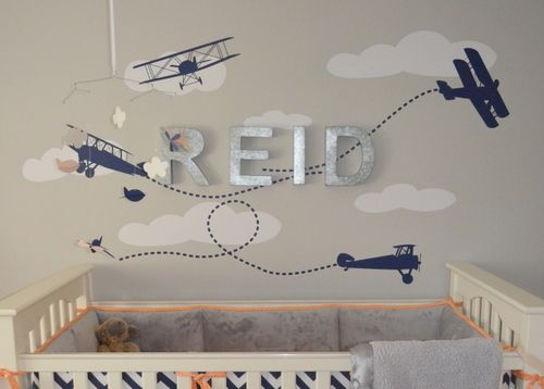 Airplane Decal Galvanized Letters Baby Boy Nursery Mommy Beta