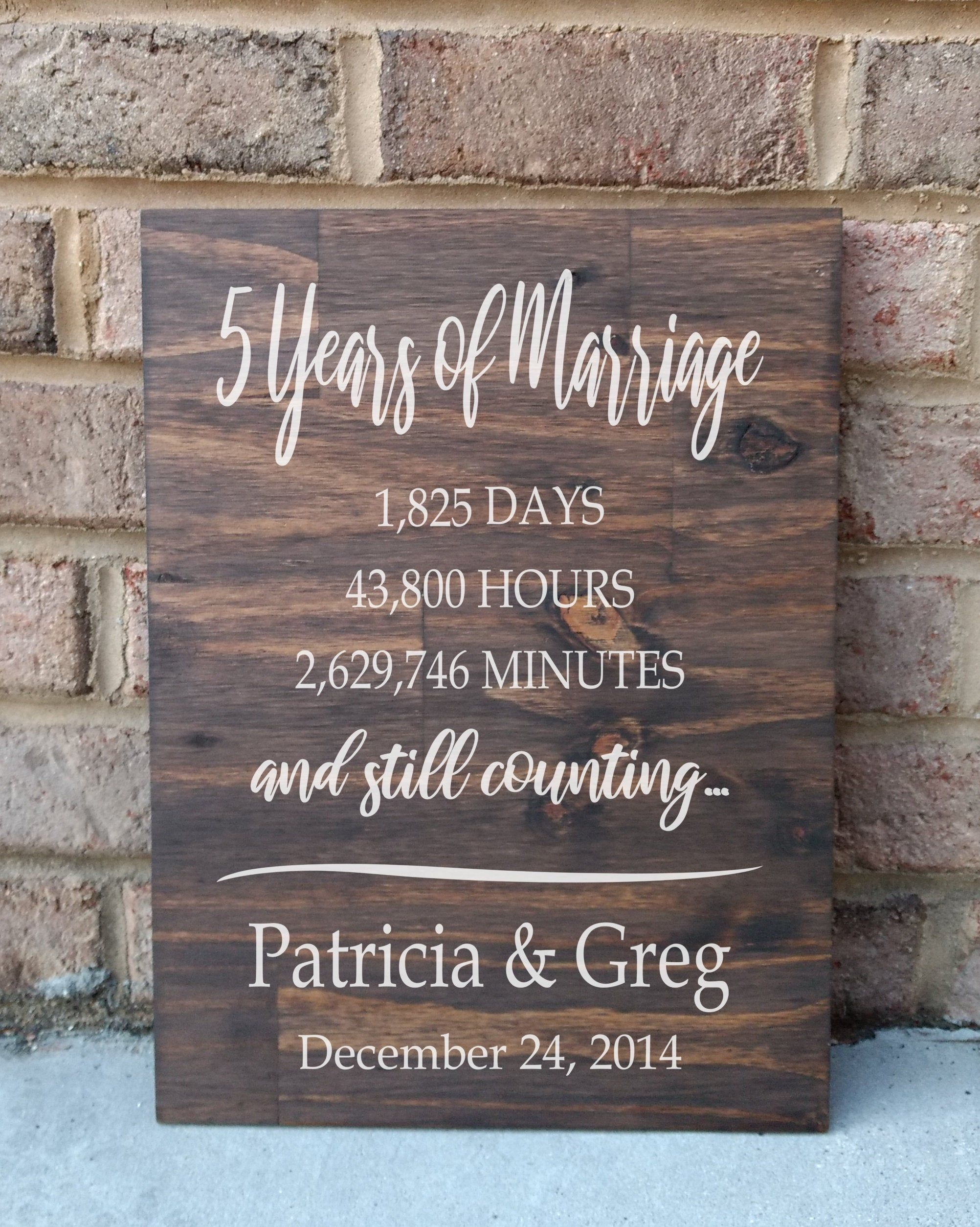 5 Years of Marriage Hand Painted Wood Sign 5th Anniversary