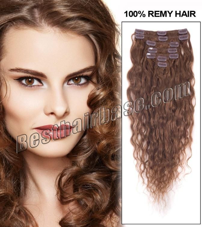 18 Inch Loose Wavy Clip In Hair Extensions Fresh 6 Light Brown 7