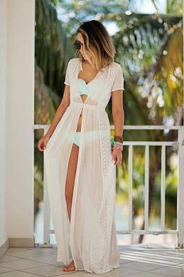 1f3319a0ce2a4 Coverup  Zara (similar)    Bikini Top  Victoria s Secret    Bikini Bottom   Victoria s Secret Sunglasses  Karen Walker    Beads  Etsy   Chavez for  Charity I ...