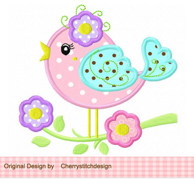 Bird Spring flowers bird Machine Embroidery Applique Design -for 4x4 ...