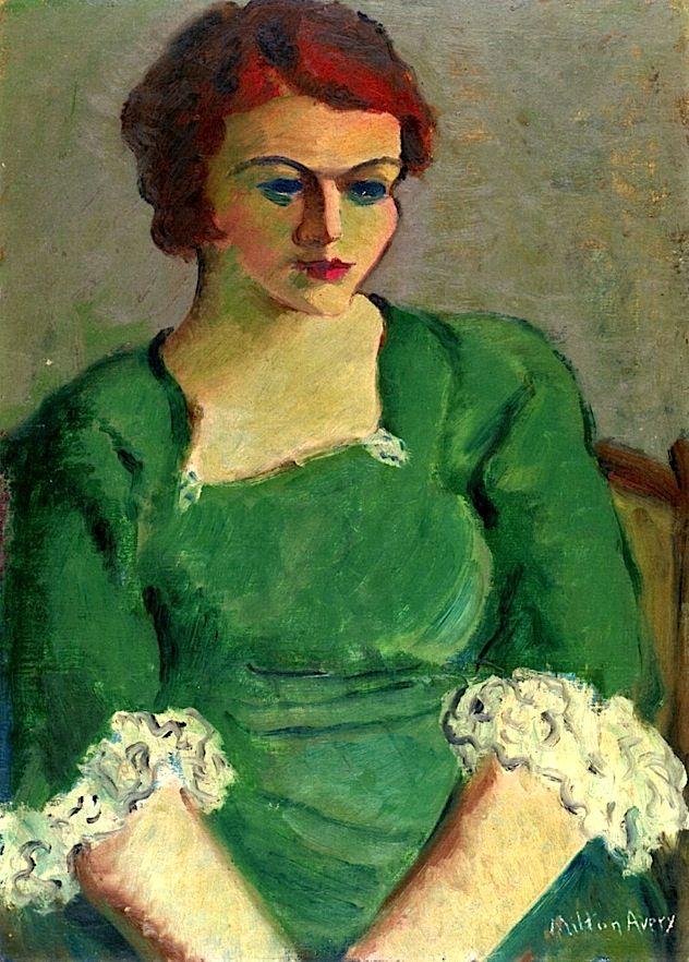 Portrait of Annette in a Green Dress Milton Avery - 1933