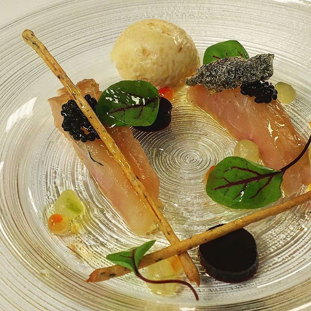 Cured artic char  beet gel herring caviar salmon caviar nori sticks red chard  crispy char skin horseradish ice cream  vinigarette. #lonelyplanet #chef #goodfood #foodporn #canadianchef #seafood #finedining #foodie by matthewmicklethwaite