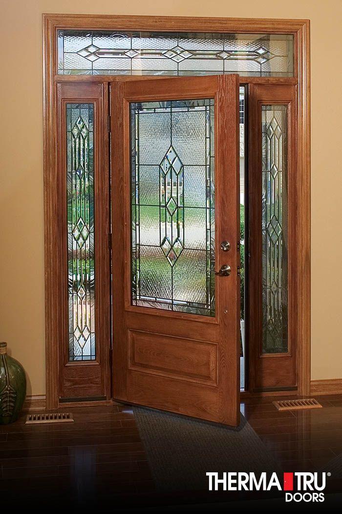 3 4 Lite 1 Panel Fiberglass Exterior Door With Decorative Glass By Therma Tru Fiberglass Exterior Doors Fiberglass Entry Doors Exterior Doors