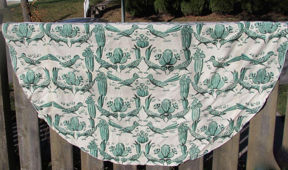 "Vtg Harwood Steiger Tablecloth Fabric 64"" Round MCM Road Runner SW Plants Floral"