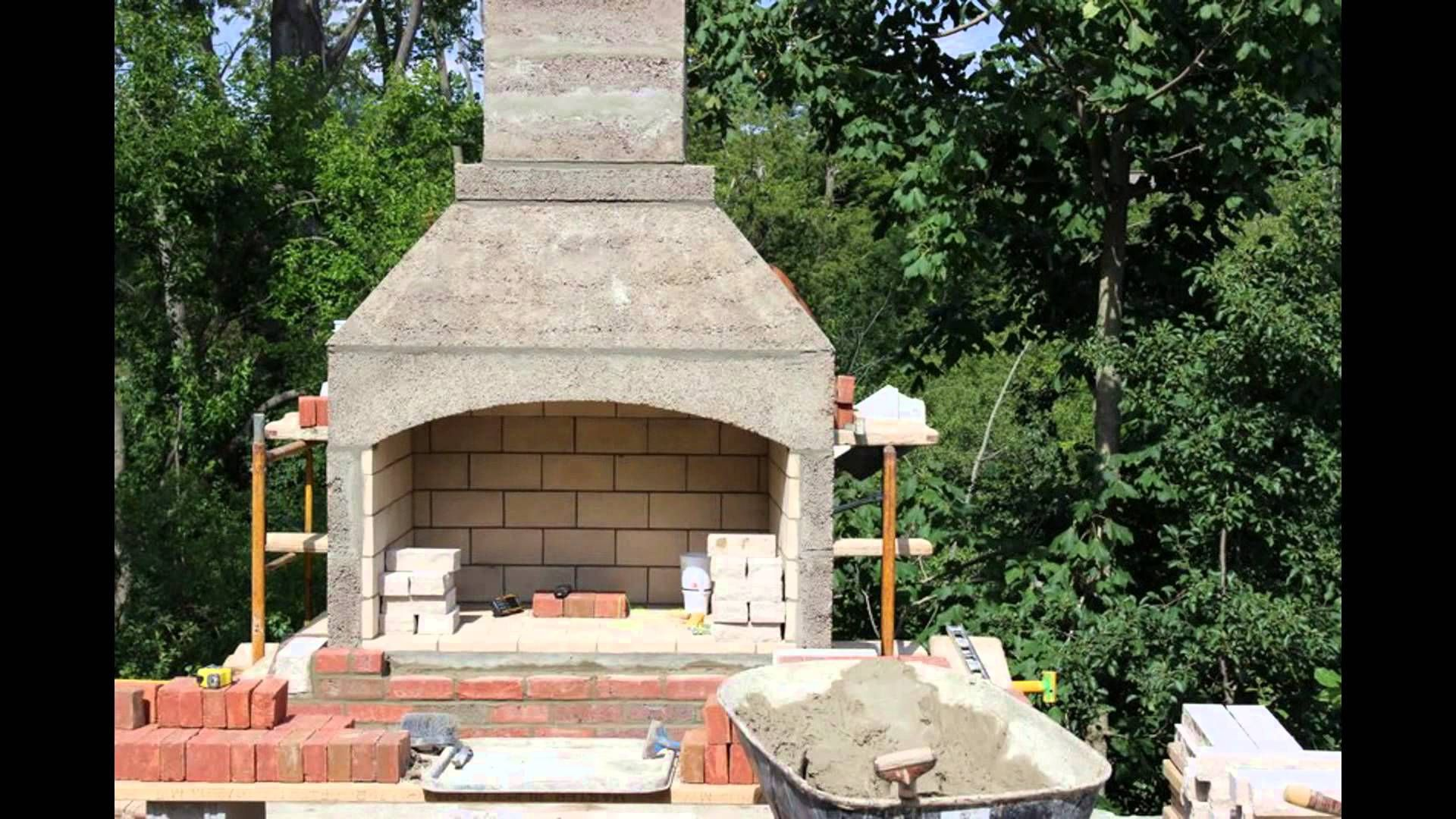 outdoor fireplace construction from foundation to fire