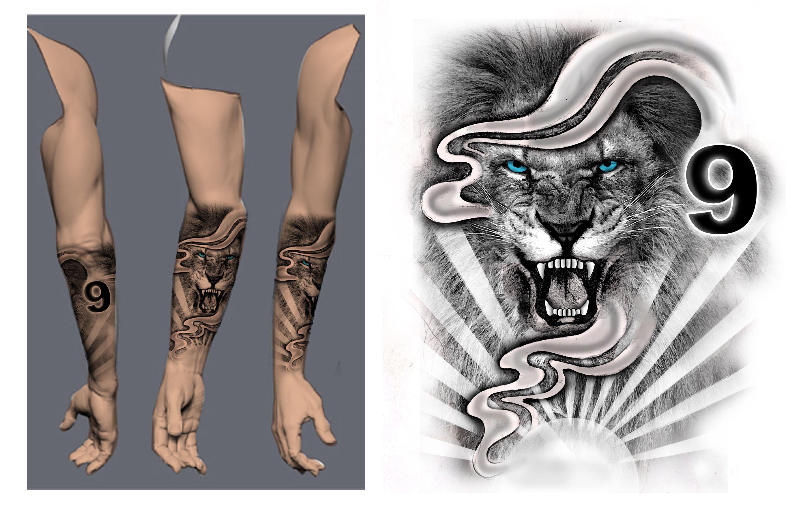 Lion Forearm Half Sleeve Black White Tattoo Concept Designs