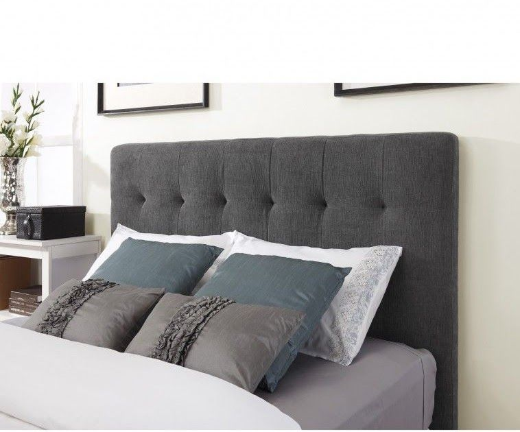 Dark Grey Fabric Headboard Connected By Grey Pillows On The Spectacular Dark Grey Headboard Bedroo In 2020 Gray Fabric Headboard Grey Headboard Grey Headboard Bedroom
