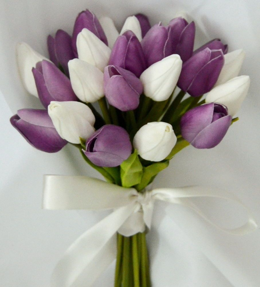 Silk Wedding Bouquet Latex Purple White Tulips Posy Flowers Flower Girl Flower