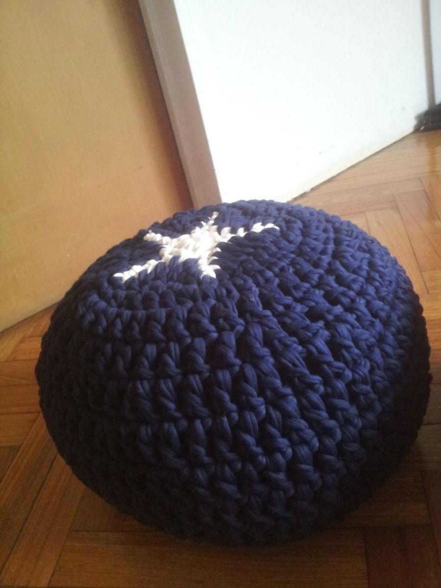 Puff Tejido A Mano (crochet Totora Artesanal) - $ 450,00 en ...