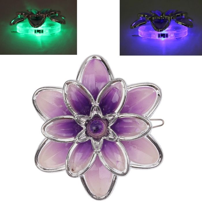 Amazones Gadgets Qx Colors Changing Flashing Flower Brooch Hair Clip
