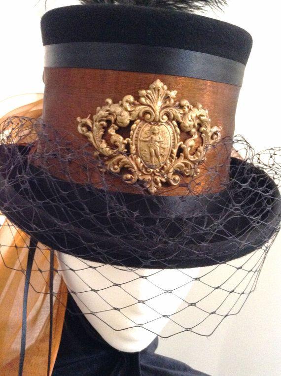 Steampunk copper & Brass  riding top hat Lady Edmund by Blackpin