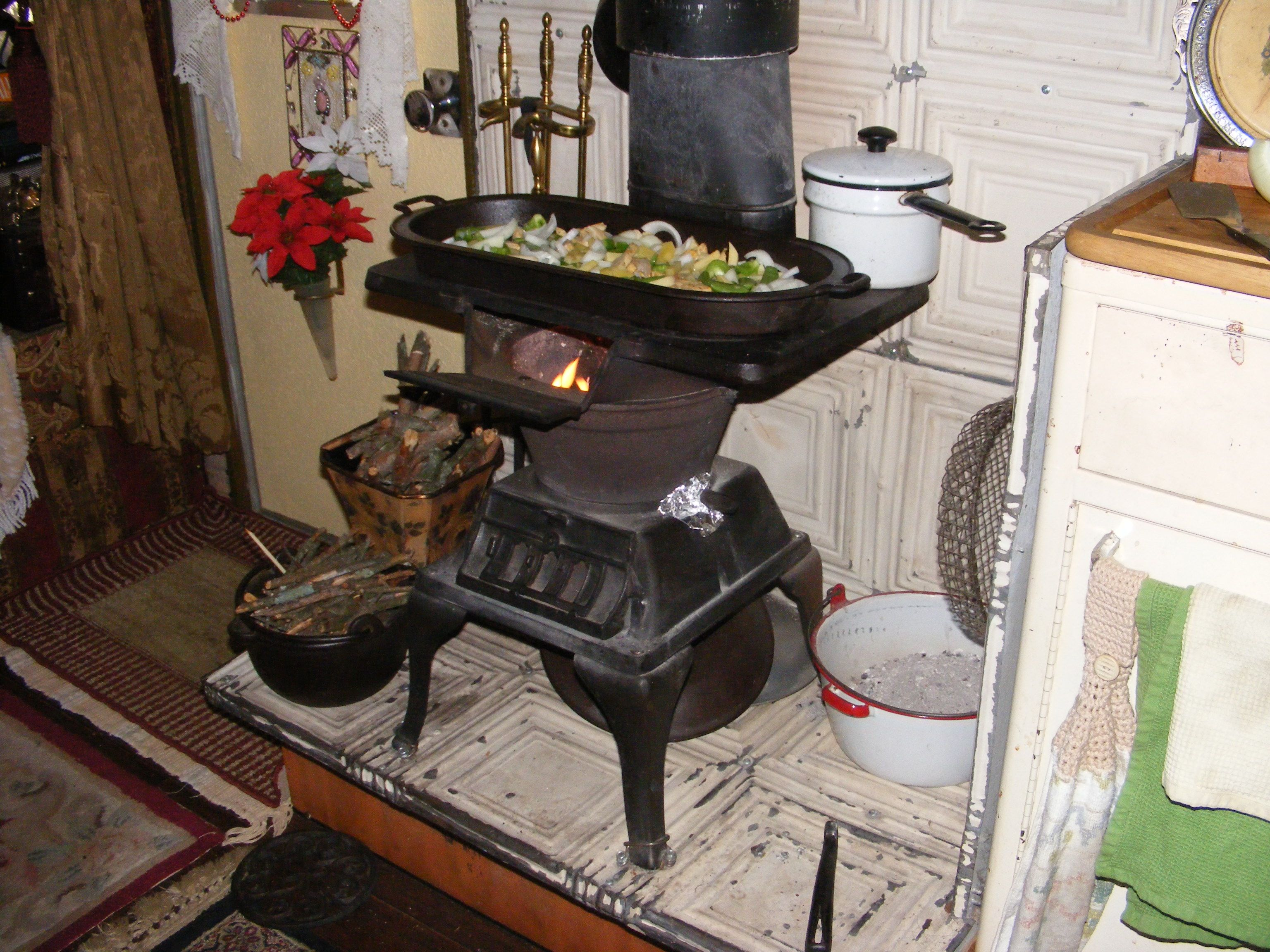 Wood Stove Griddle ~ Just a note the antique cast iron griddle i am using is