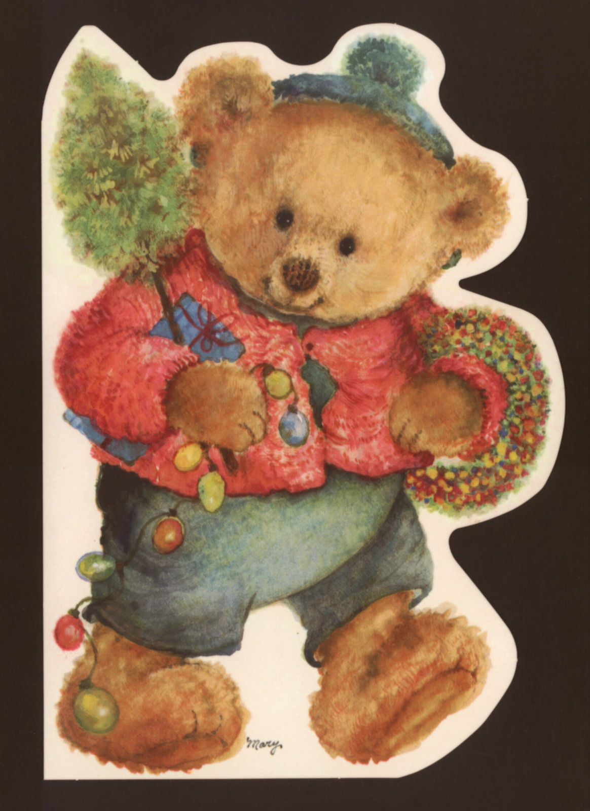 Mary hamiltonteddy bear with christmas lightswreathcollectible collectible christmas greeting card envelope5 x 7 artisttist signedmary mary hamilton collectible modern artist whose art work has been m4hsunfo