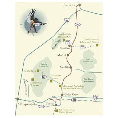 turquoise trail new mexico map Map Of Turquoise Trail National Scenic Byway New Mexico Tourism