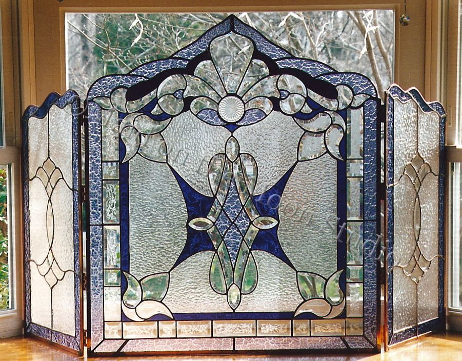 Our Stained Glass Fireplace Screens Bring Together Functionality
