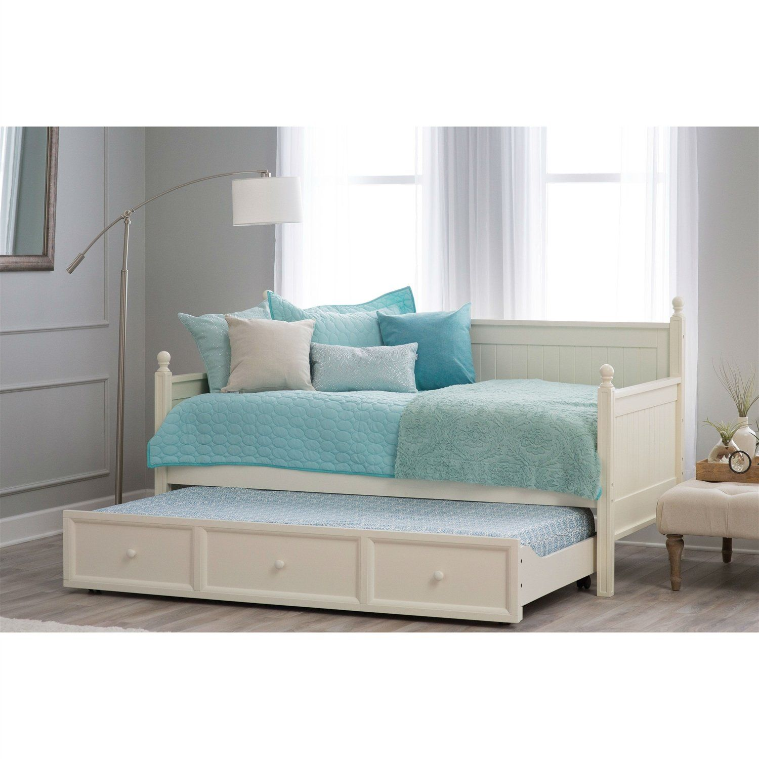 Twin Size White Wood Daybed With Pull Out Trundle Bed In 2021 White Wood Daybed Wood Daybed Daybed With Trundle White wood daybed with trundle