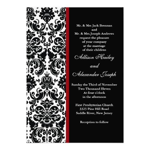 Cheap black damask with red accent wedding invitation black damask cheap black damask with red accent wedding invitation black damask with red accent filmwisefo Choice Image