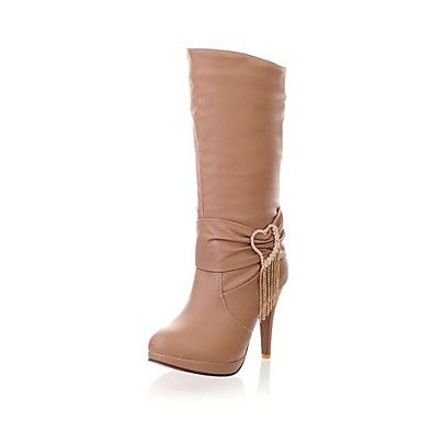 Faux Leather Stiltto Heel Fashion Mid-Calf Boots with Rhinestone (More Colors) – USD $ 34.99