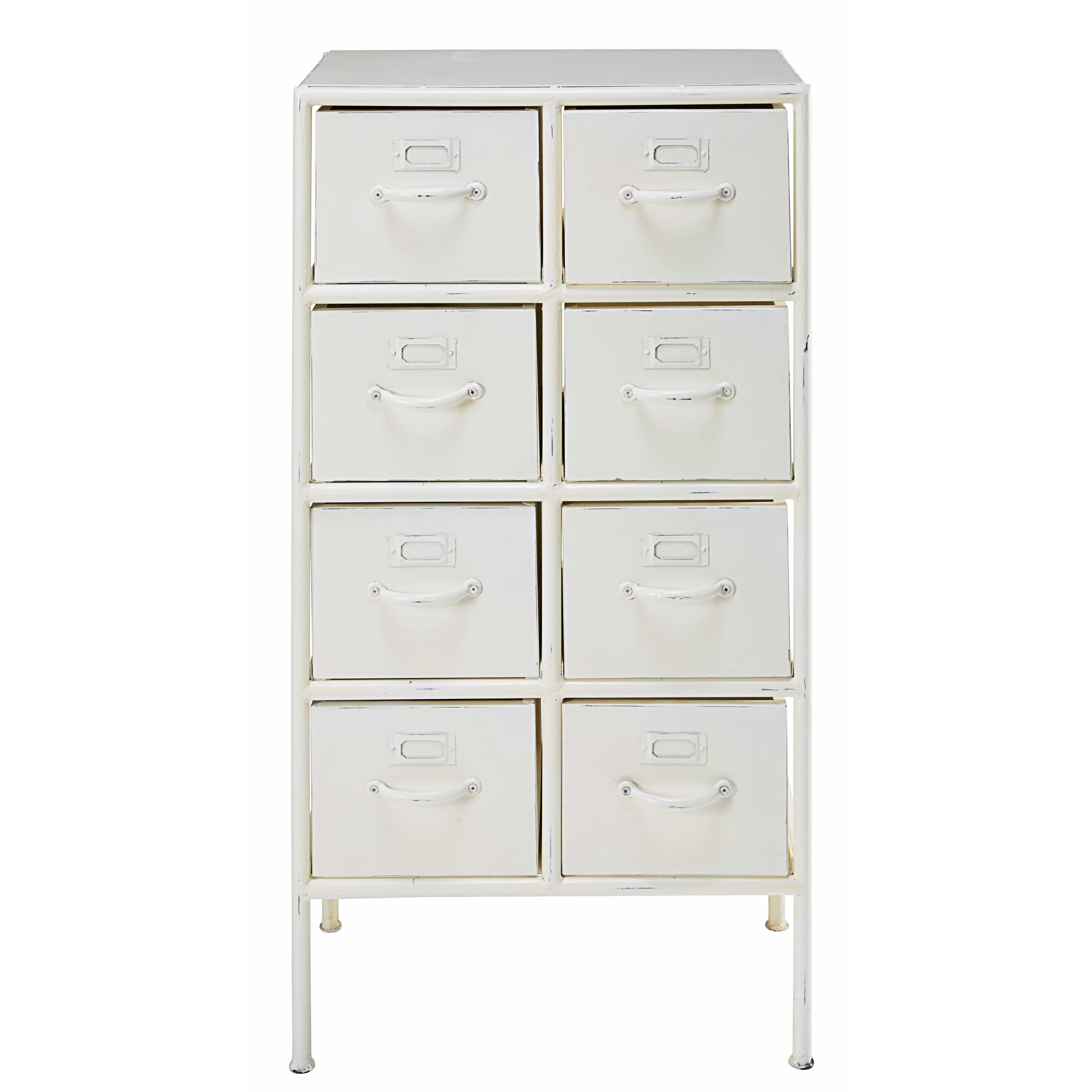 Kommode mit 8 Schubladen aus weißem Metall in Alt-Optik | Drawers ...