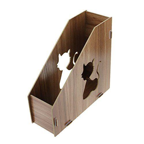 hollow wood frame bxt diy cat pattern wooden magazine file holder desk tidy