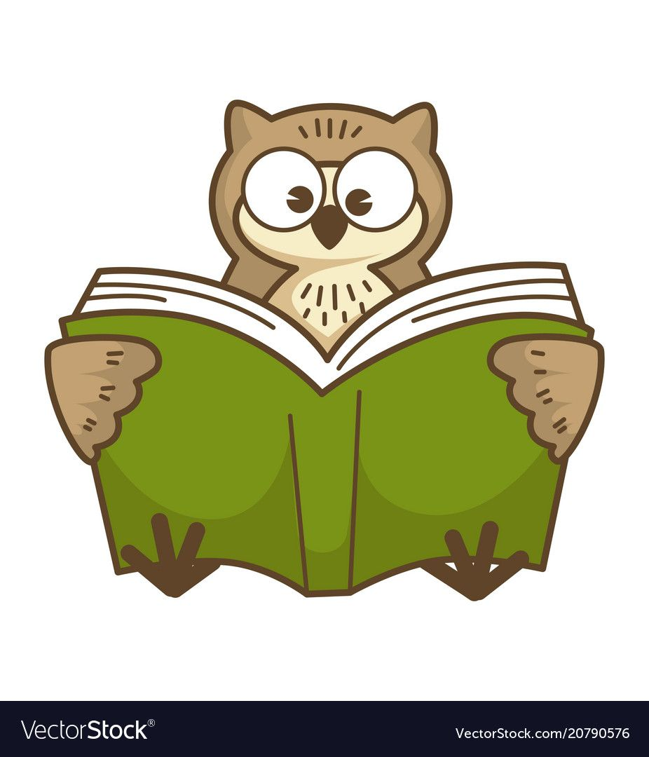 Wise Owl With Big Round Eyes Reads Book In Green Hardcover Bird Learns New Information Funny Wild Animal Sits And Holds Textb Wise Owl Funny Wild Animals Owl