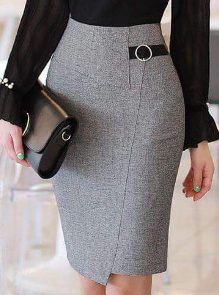 a4313e88c Elegante en gris   Faldas   Faldas, Falda modelo y Faldas elegantes