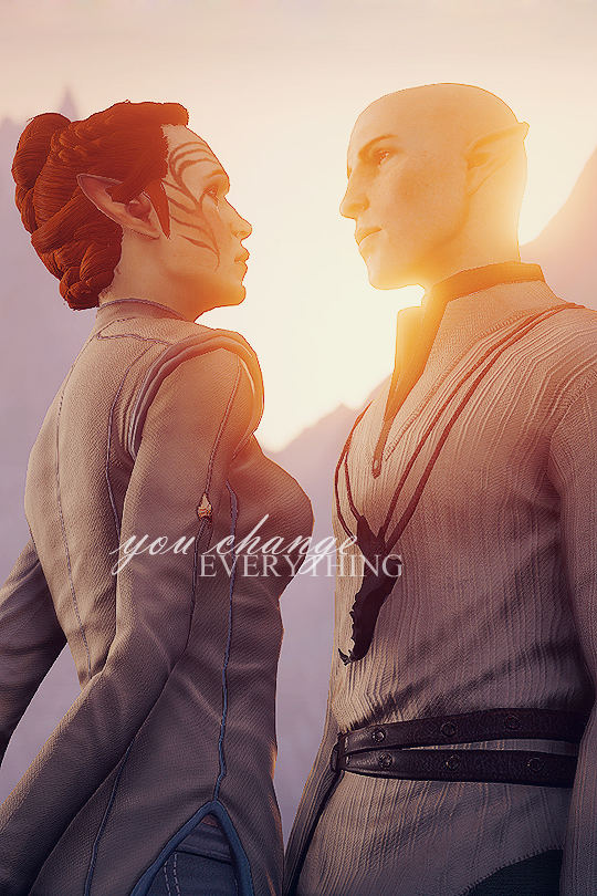 """""""In that moment I felt the whole world change."""" Solas & Lavellan"""