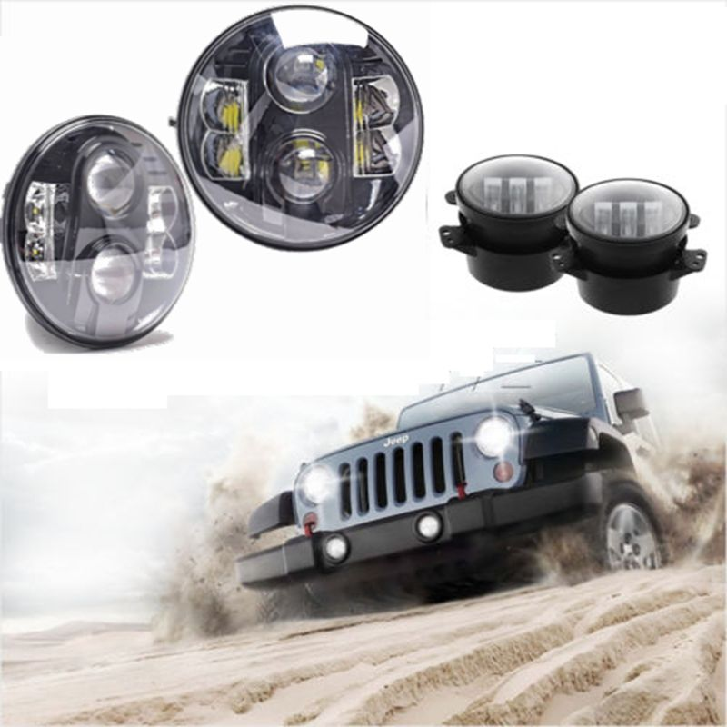Pair Round H4 H L 80w 7inch Led Headlight For Jeep Wrangler Jk Pair 4 Inch Led Fog Light Led Fog Lights Led Headlights Jeep Wrangler Jk