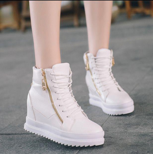 c79835410d0a Womens Zipper Decro Sneakers Wedge Hidden Heels Shoes Lace Up Running  Athletic