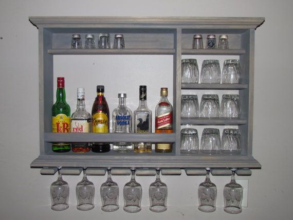 Wall Mounted Mini Bar Weathered Gray 3 X 2 Liquor