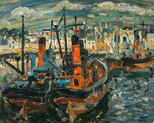 William Gillies, Fishing Boats, Anstruther Harbour, 1945, Oil