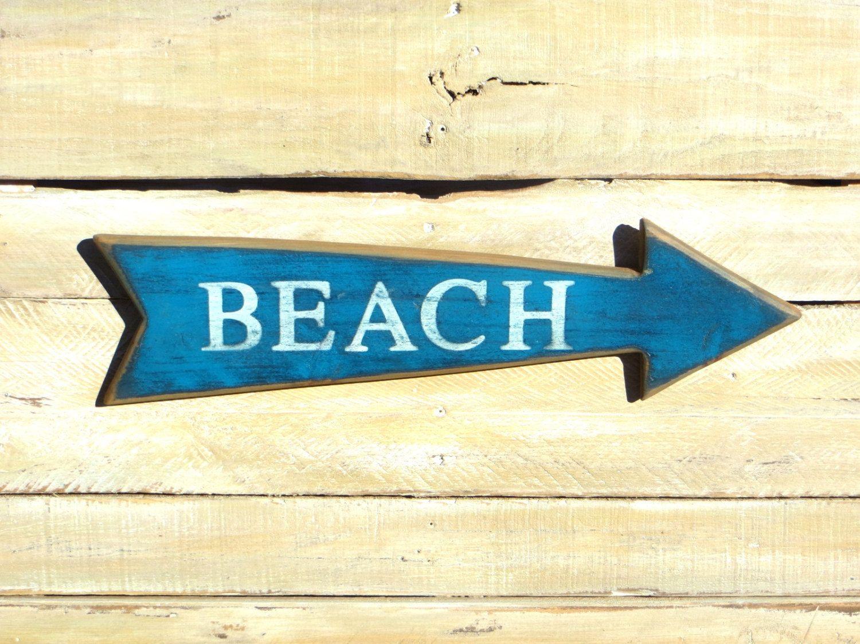 Blue Painted Beach Arrow, Beach Decor, Beach Sign Beach ...