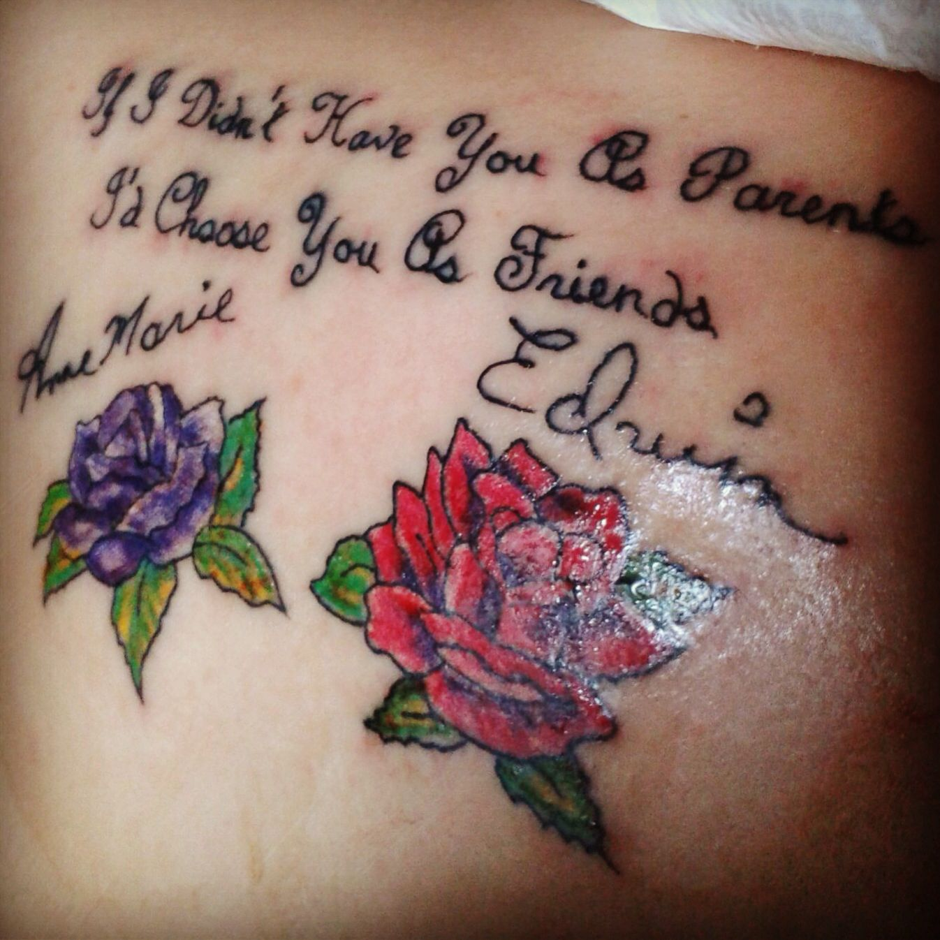 Tattoo Quotes With Roses: Tattoo Parents Quote Signatures Roses Red Purple Love