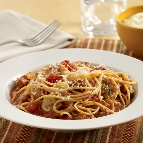 Spaghetti With Meat Sauce And Mushrooms Recipe Recipes Meat Sauce Ground Beef Recipes For Dinner