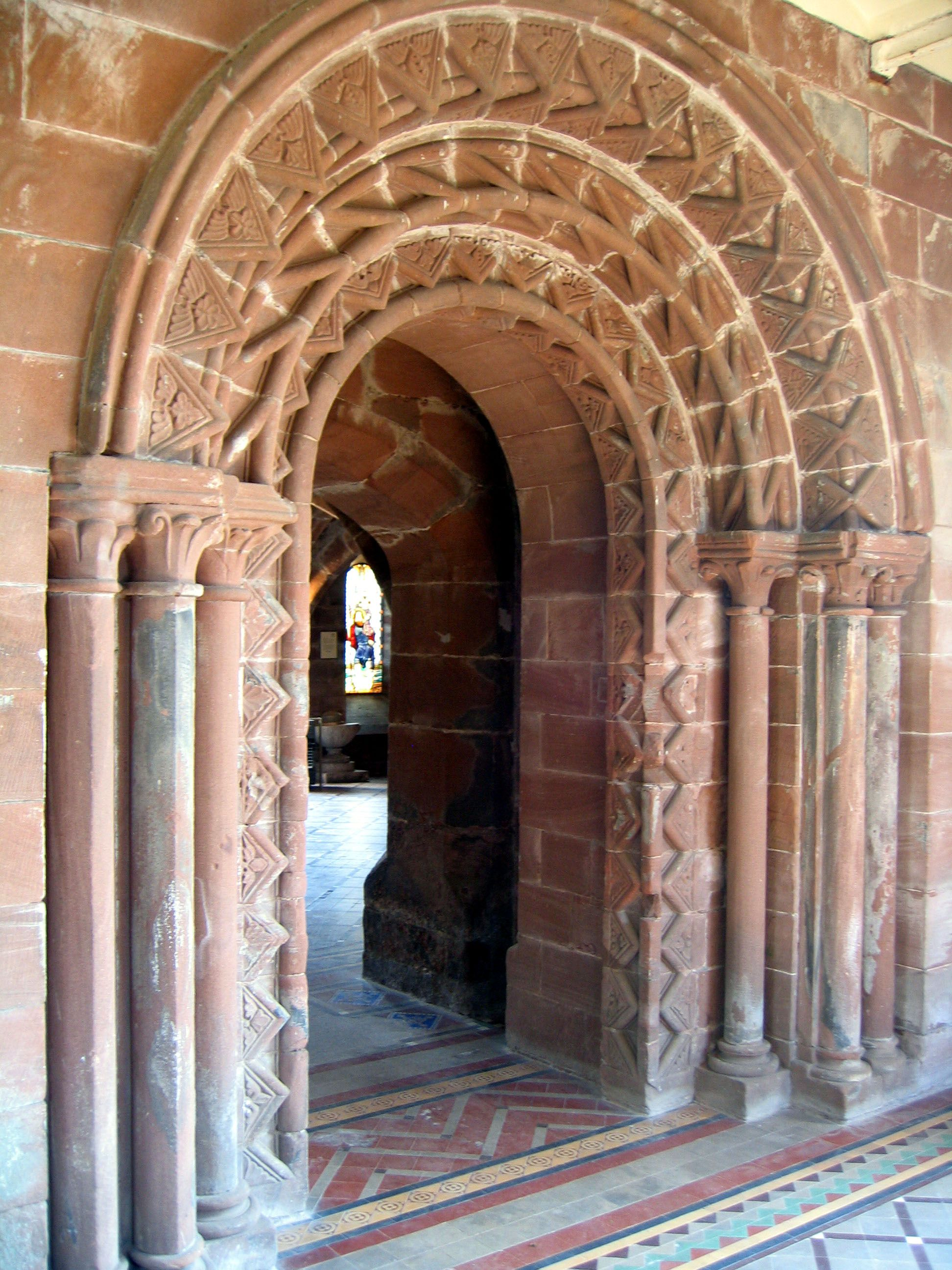 "Pretty portal, indeed!!  ""Richly decorated Norman arch at Norton Priory, Cheshire, England, early 13th century (Image © Wikimedia Commons)"""