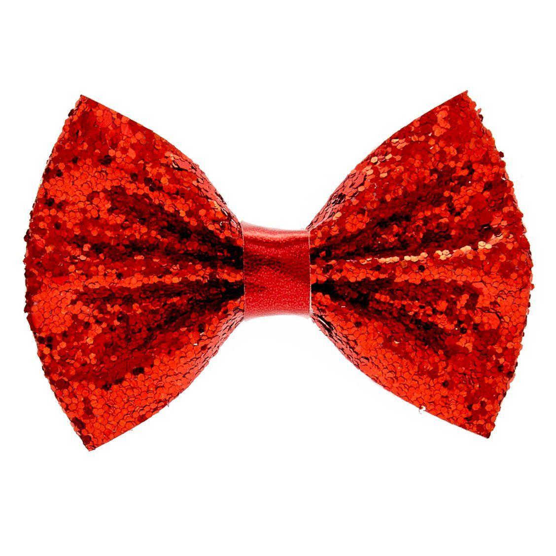 mini red glitter bow hair barrette