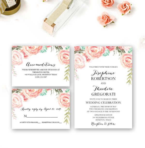 Editable Rustic Wedding Invitation Suite Peach Watercolor Flowers - invitation download template