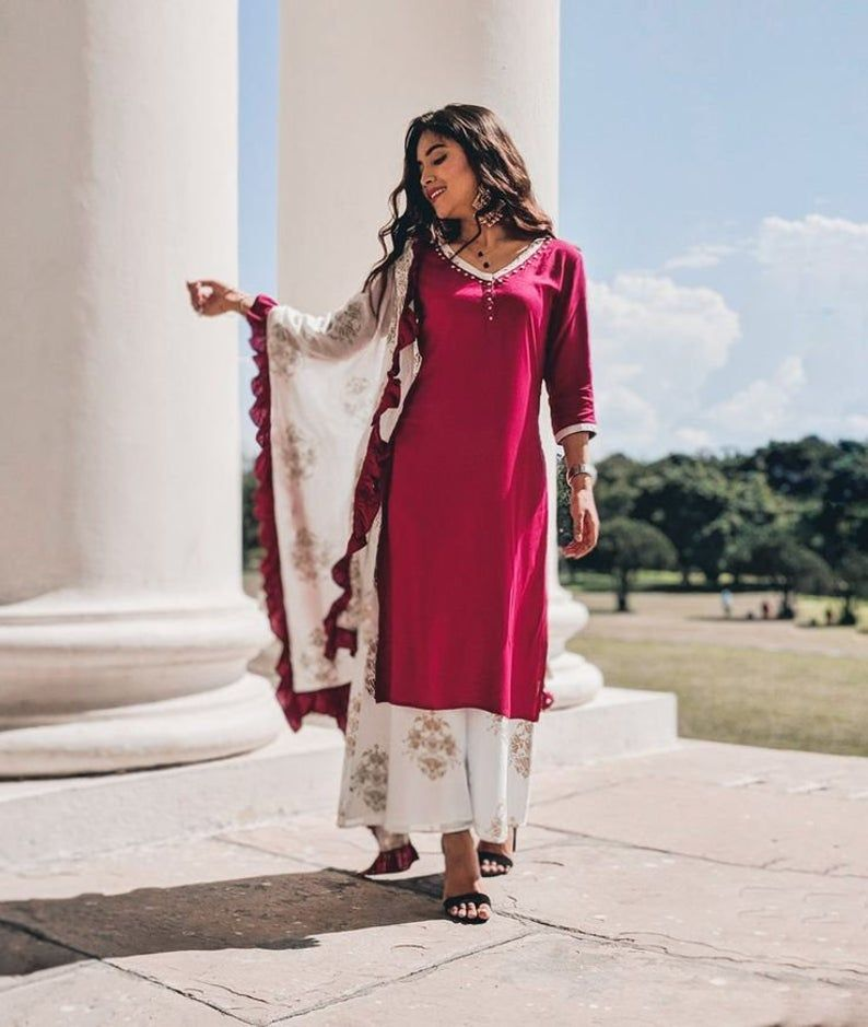 Indian Traditional Designer Beautiful Rayon Printed Kurti With Palazzo For Girls /& Women kurti dress kurti kurta Indian dress